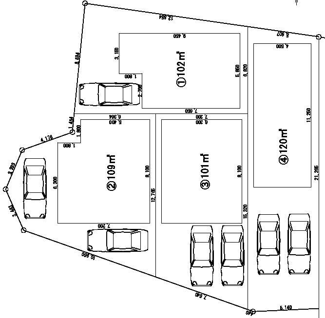 区画割り図 敷地面積30.5坪~36.1坪
