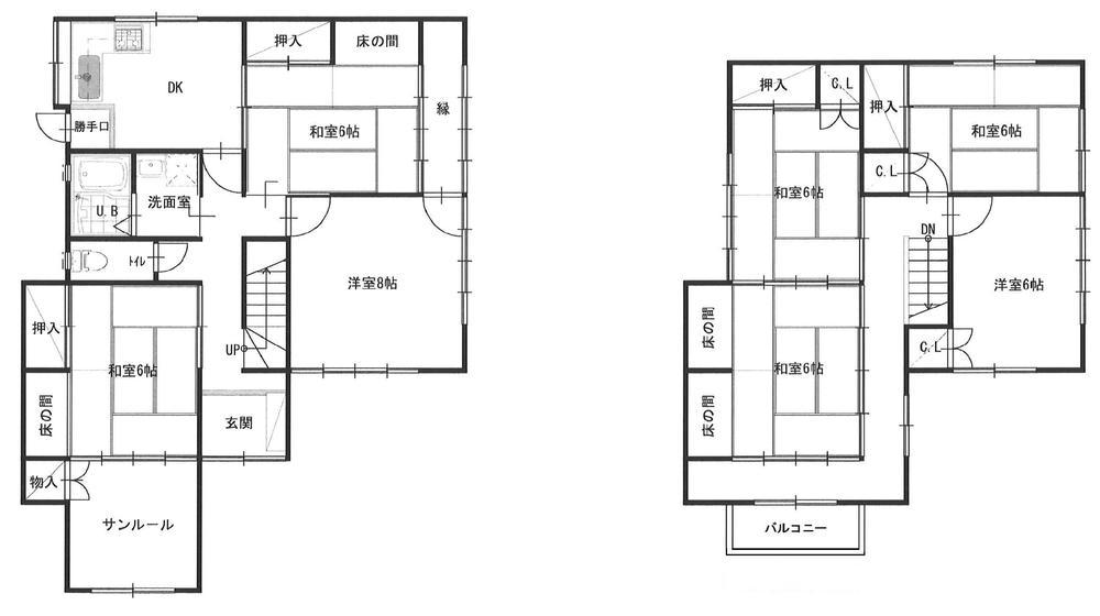 780万円、7DK、土地面積325.98m<sup>2</sup>、建物面積158.83m<sup>2</sup> 平面図