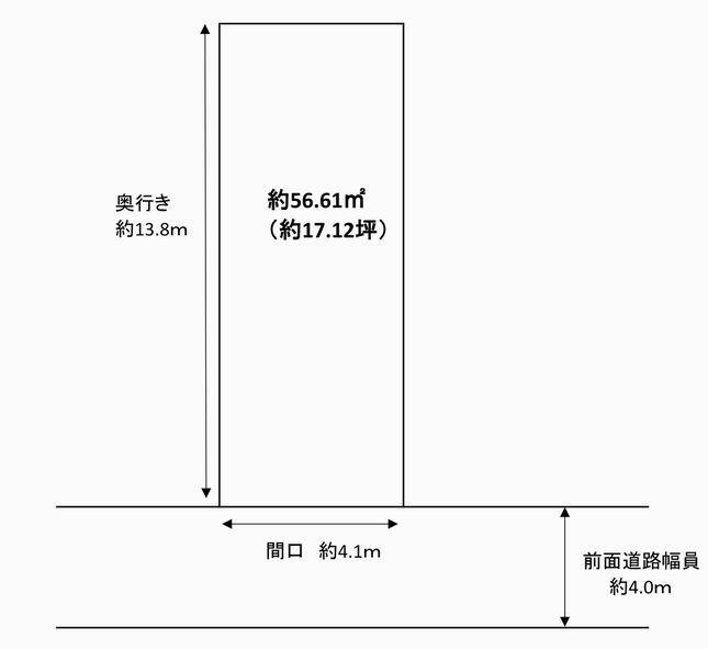 土地価格980万円、土地面積56.61m<sup>2</sup> 土地形状図