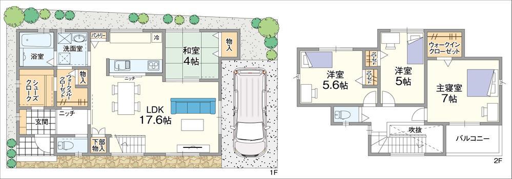 【5号地/参考プラン図】<BR>リビング階段上部が吹抜けとなっており、明るく開放的な空間です。シューズクロークと洗面室から出入り可能なウォークスルークローゼット、パントリーなど収納豊富な住まいをご提案します。