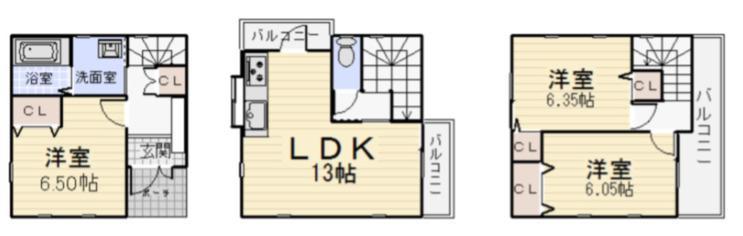 950万円、3LDK、土地面積53.62m<sup>2</sup>、建物面積82.25m<sup>2</sup>