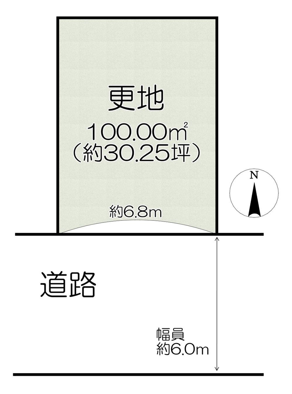 土地価格963万円、土地面積100m<sup>2</sup>  (約30.24坪)。間口は約6.8mの整形地です。建物プラン例もご用意しております。ご予算やご希望の間取りなど、お気軽にご相談ください。