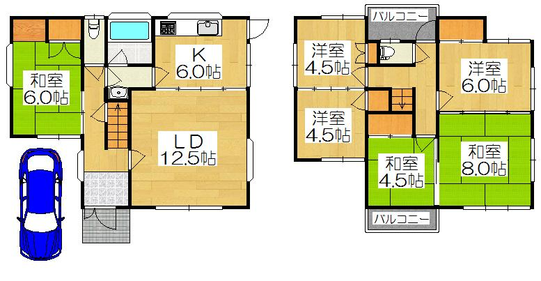 2880万円、6LDK、土地面積100.99m<sup>2</sup>、建物面積113.4m<sup>2</sup> 6LDK、駐車スペース1台の間取りです。