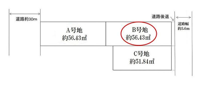 土地価格1059万円、土地面積56.43m<sup>2</sup> 土地形状図