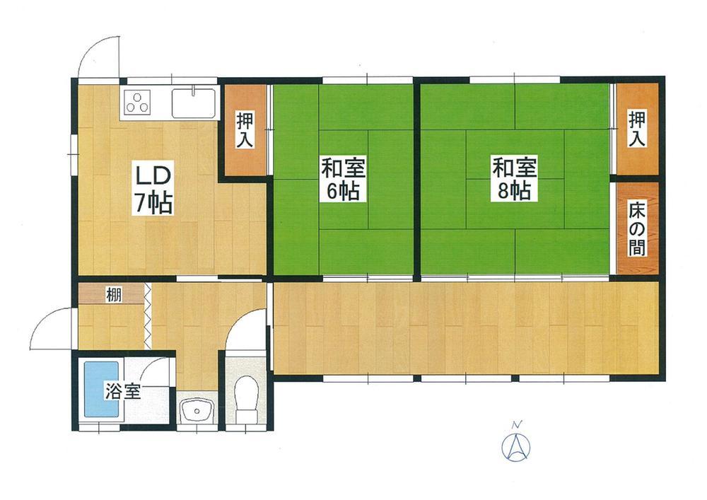 300万円、2DK+S(納戸)、土地面積210m<sup>2</sup>、建物面積68.13m<sup>2</sup> 2SDK。車庫:沢山停められます