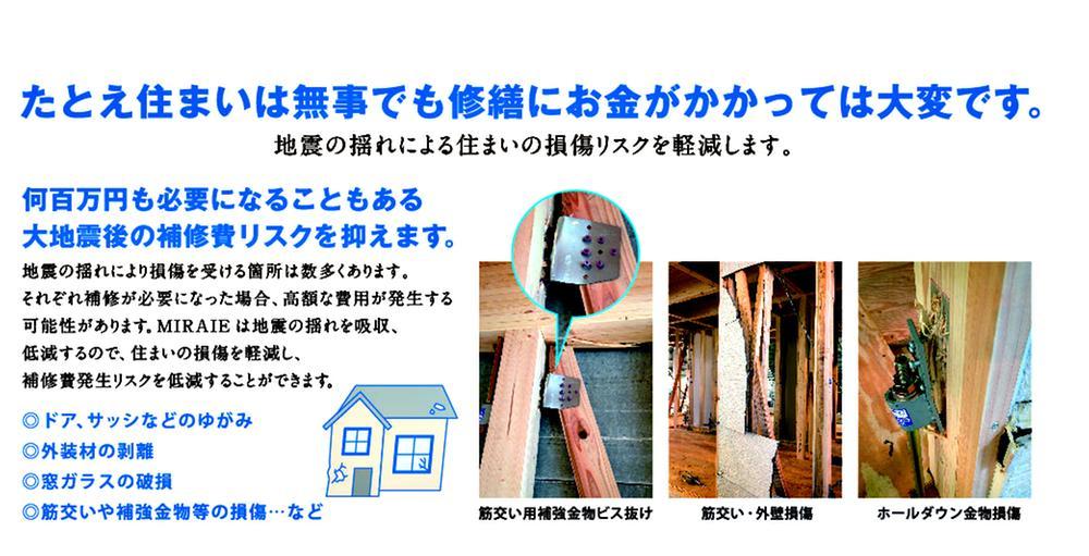 地震の揺れを吸収するシステムにより、構造躯体への損傷リスクを軽減!<BR>構造躯体の補修には高額な費用を要する場合がございます。<BR>制震技術を取入れ、補修発生リスクを低減してくれます。