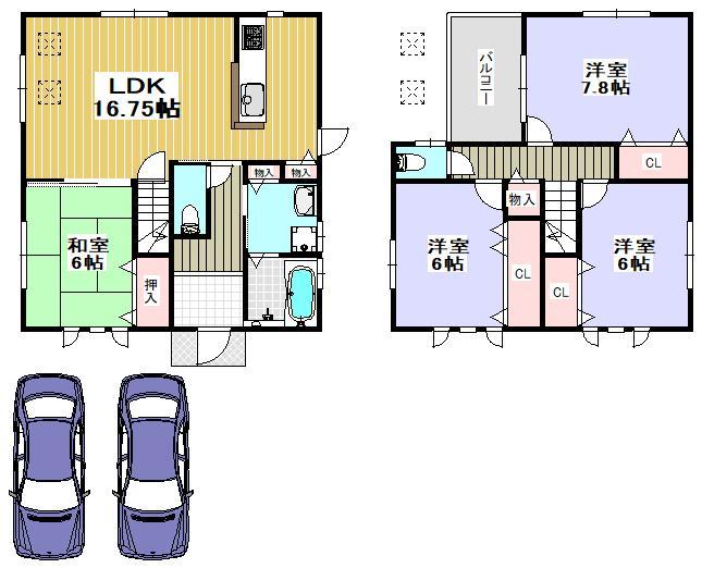 価格3080万円、4LDK、土地面積174.01m<sup>2</sup>、建物面積100.23m<sup>2</sup>