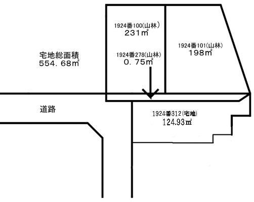 土地価格1700万円、土地面積554.68m<sup>2</sup> 概略図です。