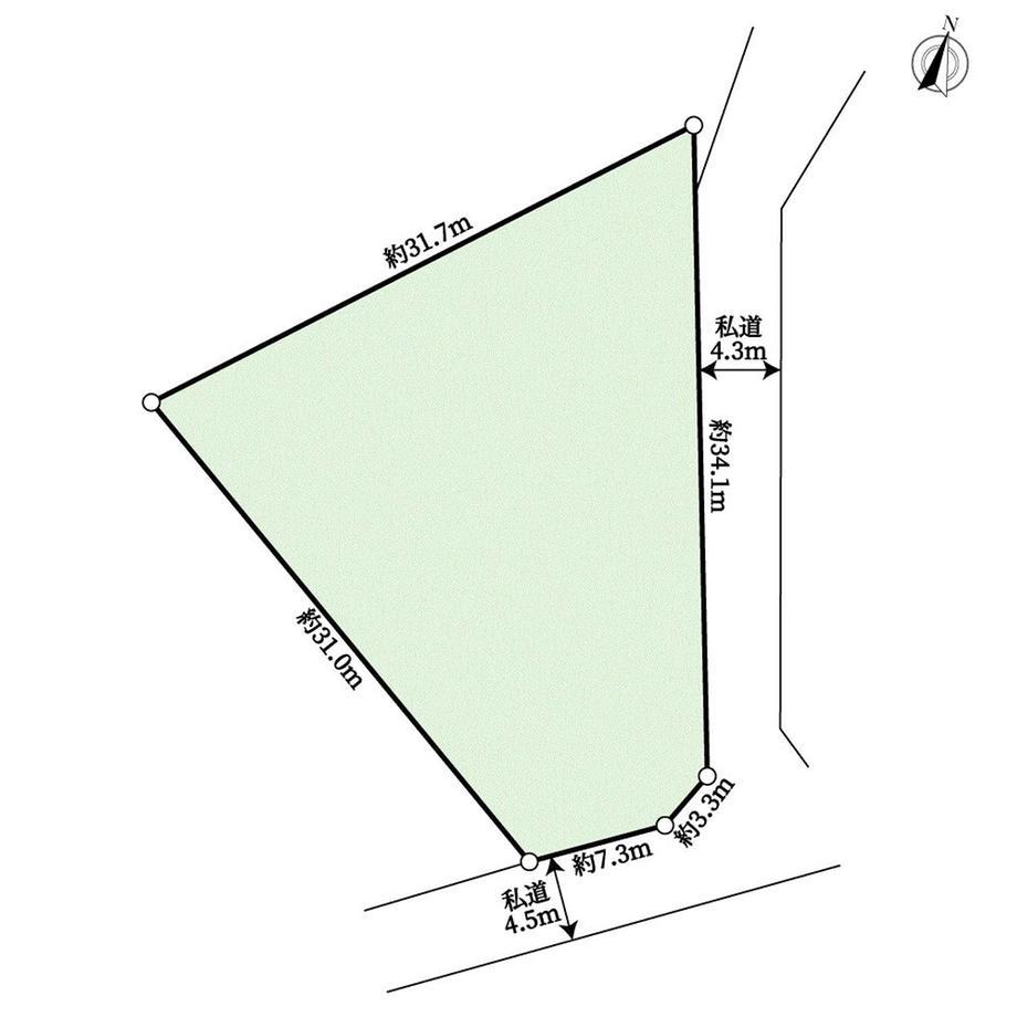 土地価格580万円、土地面積649m<sup>2</sup> 地型図