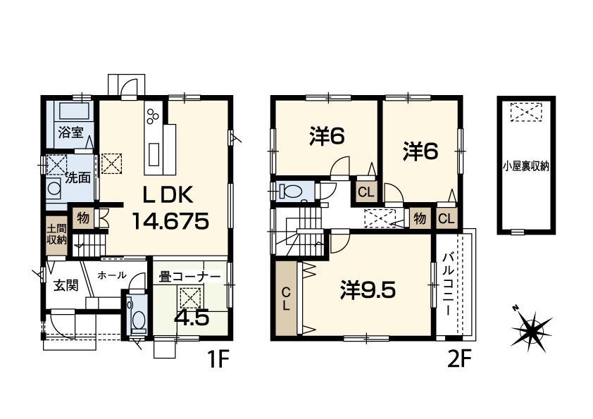 4LDK+地下収納庫+小屋裏収納! 冨波乙野田Ⅲ期 25号地