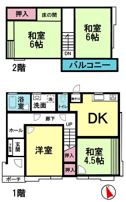 970万円、4DK、土地面積99.09m<sup>2</sup>、建物面積90.91m<sup>2</sup>