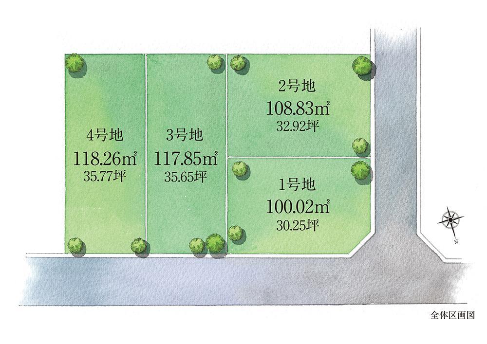 落ち着いた住環境に誕生する限定4区画の街。全区画100m<sup>2</sup>越えを確保した、プランニングしやすい整形地。(全体区画図)