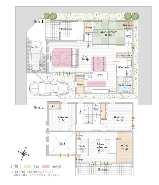 M-1号地 現在公開中のNEWモデルプラン<BR>広々とした敷地に相応しい、上質な暮らしを叶える贅沢なプラン。吹抜を設けたゆったりとしたLDKと和室を開放すれば、約26帖の大空間が広がります。