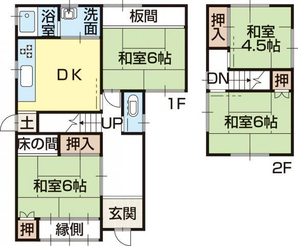 450万円、4DK、土地面積114.93m<sup>2</sup>、建物面積84.85m<sup>2</sup>