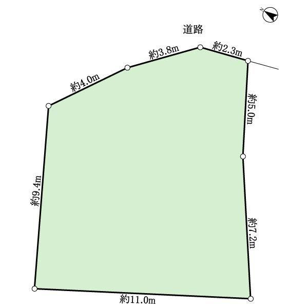 土地価格1500万円、土地面積119m<sup>2</sup> 地型図