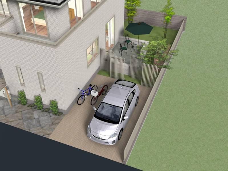 建物プラン例(東④北1-5)建物価格3797万円(外構工事含む)(エアコン・照明工事別途)、建物面積105.82m<sup>2</sup><BR>ガーデンテラスなど、視線を外に広げると、わが家のくらしの楽しみはもっと大きくなる。