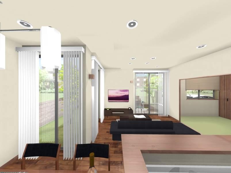 建物プラン例(東④北1-5)建物価格3797万円(外構工事含む)(エアコン・照明工事別途)、建物面積105.82m<sup>2</sup><BR>開放的なダイニングには、いつも元気な「おはよう」の声が響き、笑顔が広がります。