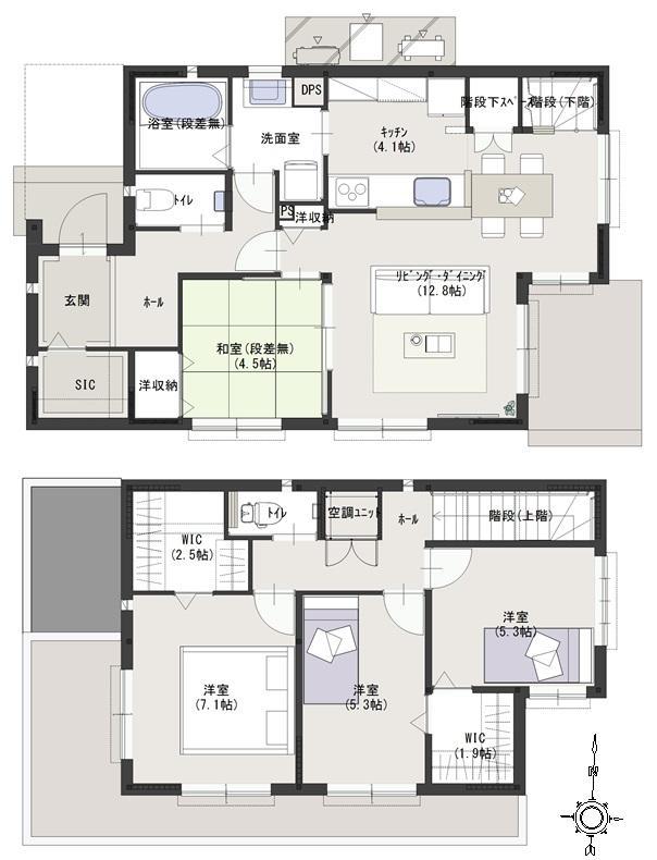 建物プラン例(東④北1-4)4LDK、土地価格1355万円、土地面積169.12m<sup>2</sup>、建物価格3942万円、建物面積105.82m<sup>2</sup>