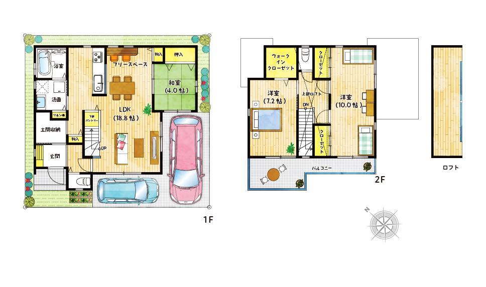 【6号地プラン例】<BR>まるで秘密基地のようなロフト付きのお家♪お子様も喜ぶこと間違いなしです!どの部屋もゆとりある空間に。その他にもフリースペースやスタディースペースも充実しています♪