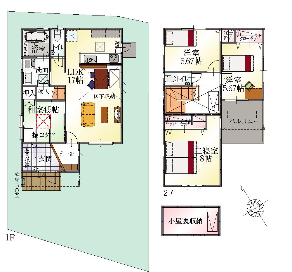 (20号地)、価格2970万3000円、4LDK、土地面積135.5m<sup>2</sup>、建物面積101.84m<sup>2</sup>
