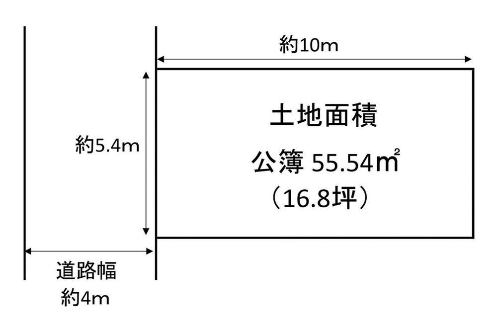 土地価格1540万円、土地面積55.54m<sup>2</sup> 土地形状図
