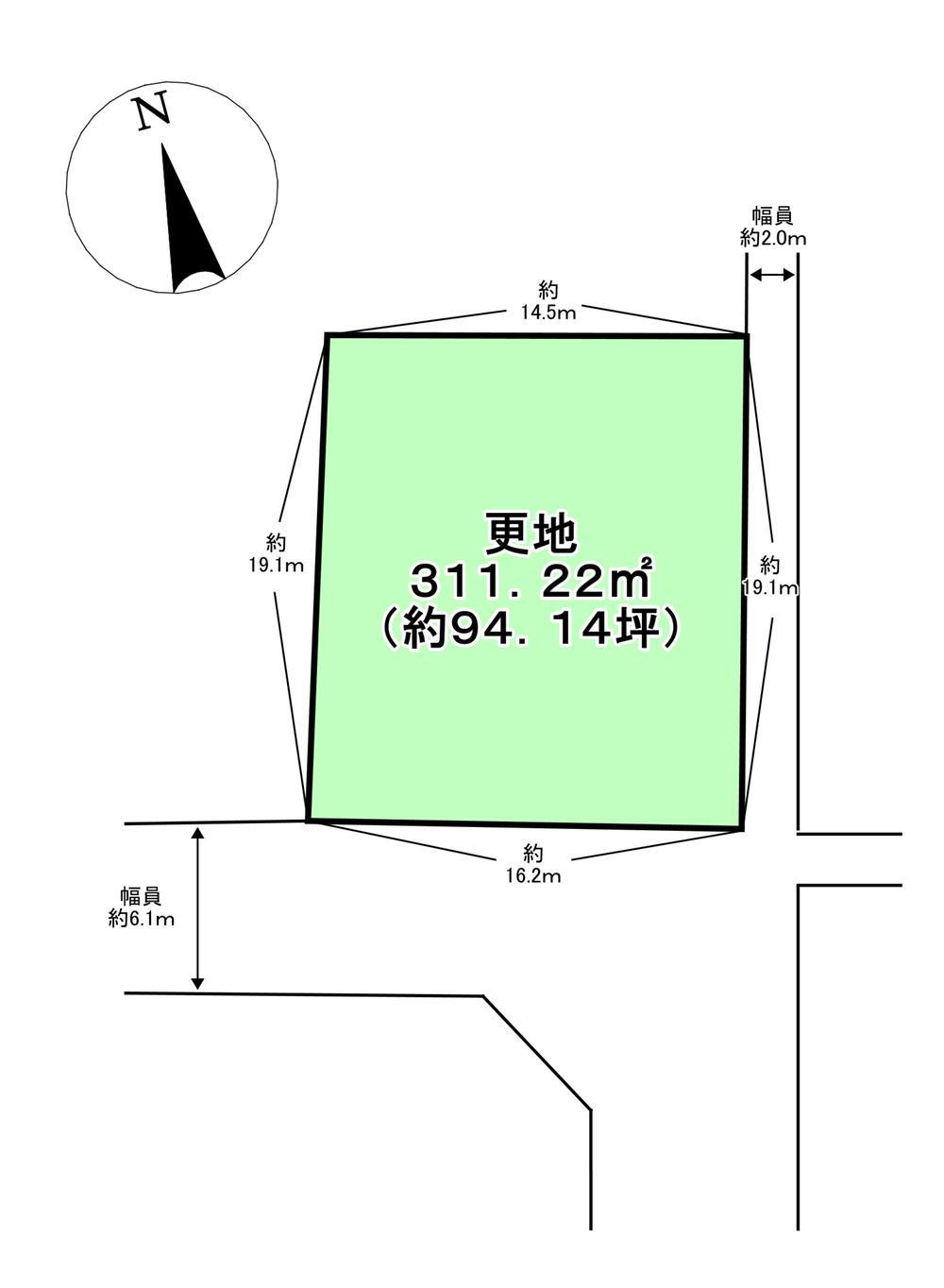 土地価格150万円、土地面積311.22m<sup>2</sup> (約94.14坪)。南側幅員約6.1m、間口約16.2m、東側幅員約2.0m、間口約19.1m(建築基準法上の道路には該当しません。)の整形地です。建築可能な建物プランなど、詳しくはお気軽にお問い合わせください。