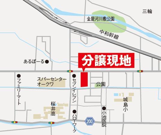 メンバーズアベニュー桜井<BR>現地案内図<BR>コンビニ・スーパー近く、生活便利です♪