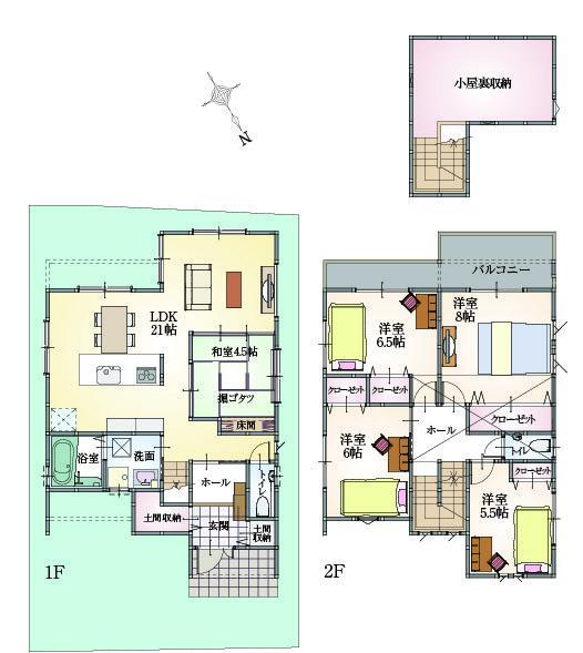 ZEH仕様の12号地 南側にリビングと庭スペースのある、光と風を取り入れる1邸です。