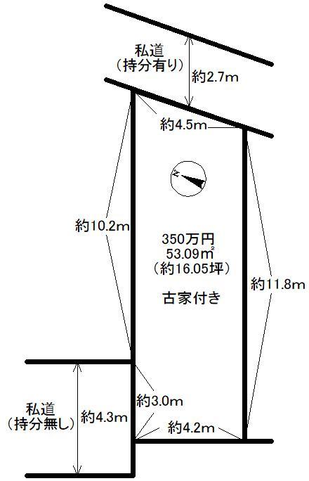 土地価格330万円、土地面積53.09m<sup>2</sup>