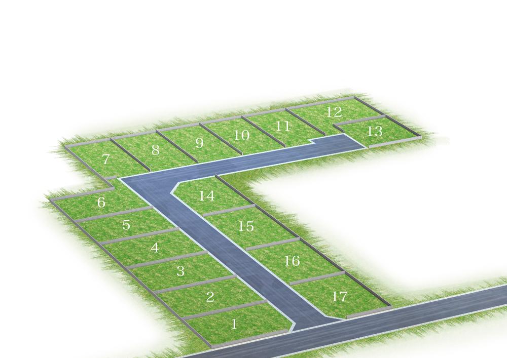 きれいに整形された132m2超・全15区画の土地。幅6mのゆとりある街区内道路は行き止まりになっていて、住人以外の出入りが少ないのも安心できます。全区画2台駐車が可能な広さです。(全体区画図)