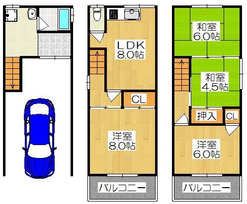 1480万円、4LDK、土地面積41.84m<sup>2</sup>、建物面積95.04m<sup>2</sup> 4LDKのゆったりした間取りです♪