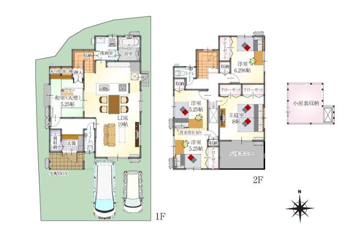 全室収納付き+小屋裏収納 12号地 屋根付きバルコニー広さ5帖分は、くつろぎのスペースとしても