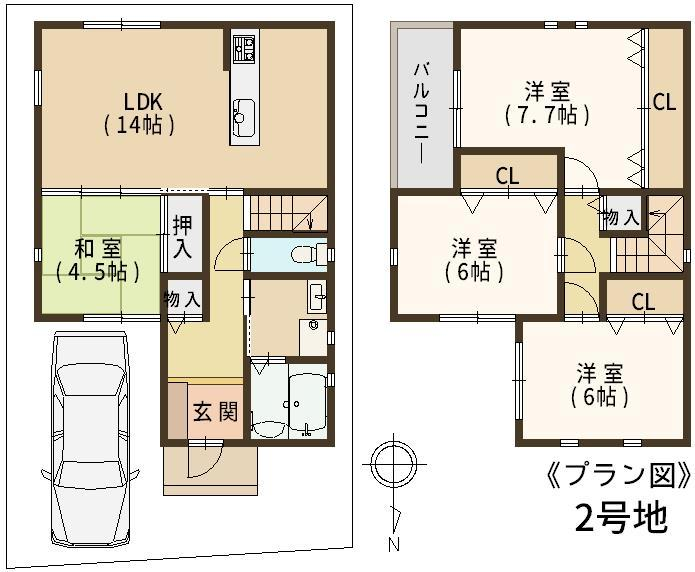 建物プラン例(2号地)4LDK、土地価格1380万円、土地面積91.6m<sup>2</sup>、建物価格1600万円、建物面積93.96m<sup>2</sup>