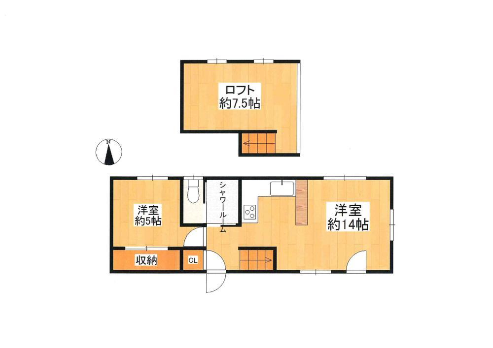 土地価格550万円、土地面積306.88m<sup>2</sup> 現況間取り:1LDK+ロフトあり。