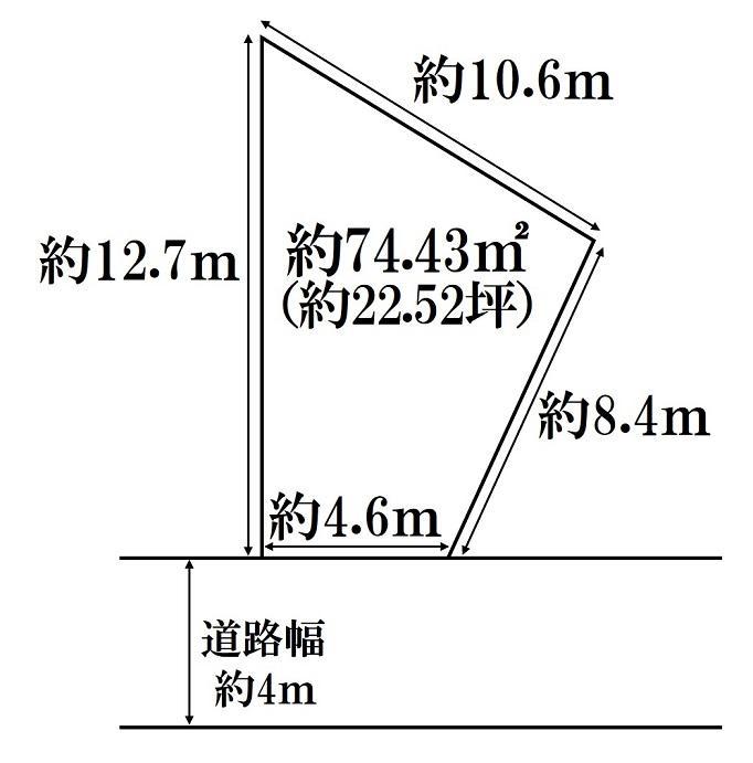 土地価格1931万円、土地面積74.43m<sup>2</sup> 土地形状図