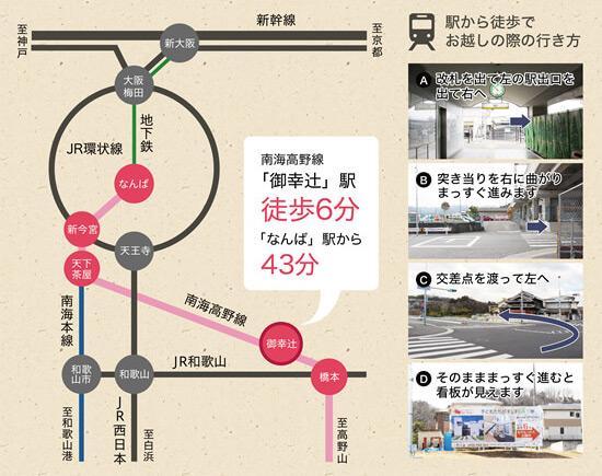 駅まで徒歩6分だから、電車での通勤、通学もらくらく!<BR>難波へは乗り換えなしで43分。ショッピングも気軽に。