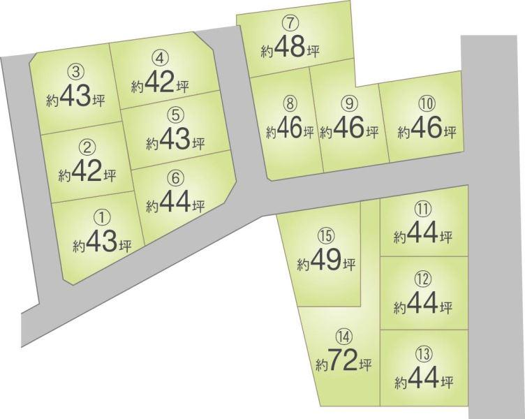 約42~72坪の全15区画分譲地。地盤ネットの20年地盤補償付き物件です。お時間の許す限りご案内させて頂きます!!<BR>フリーダイアル:0120-079-290もしくは上記の「見学予約フォーム」からお申込みください。