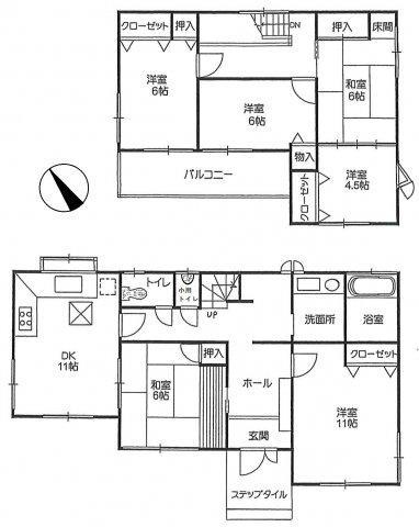 2680万円、6DK、土地面積410.63m<sup>2</sup>、建物面積135.65m<sup>2</sup> ゆったりの各部屋です