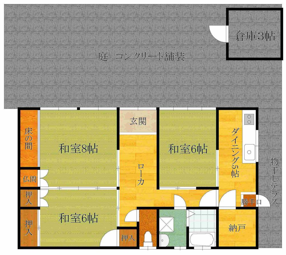 588万円、3K、土地面積113.85m<sup>2</sup>、建物面積62.8m<sup>2</sup>