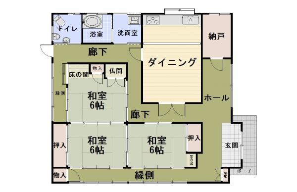 1848万円、3DK+S、土地面積523m<sup>2</sup>、建物面積135.49m<sup>2</sup> 3人~4人家族にオススメの3SDKです。