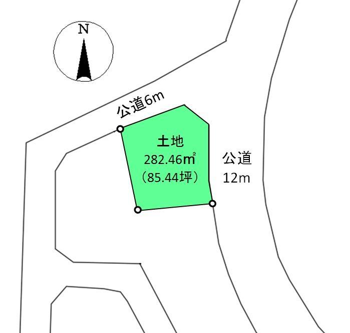 土地価格1080万円、土地面積282.46m<sup>2</sup>
