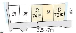 土地価格1247万円、土地面積242.48m<sup>2</sup> 5区画ある分譲地<BR>70坪以上あるのでゆったり!!