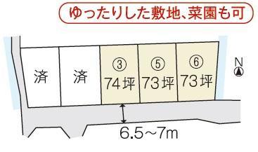 土地価格1191万9000円、土地面積246.27m<sup>2</sup> 5区画の分譲地 ①②号地は、売却済と<BR>全5区画の分譲地。(1・2号地は売却済です)