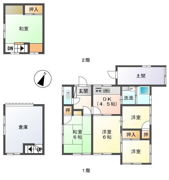 1200万円、4DK+S(納戸)、土地面積357.46m<sup>2</sup>、建物面積74.75m<sup>2</sup>
