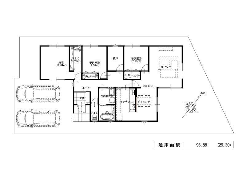 建物プラン例(2期:14号地)延床面積:96.88m<sup>2</sup>(29.30坪)<BR>※こちらのプランは一例です。プランはお客様が自由に決められます。