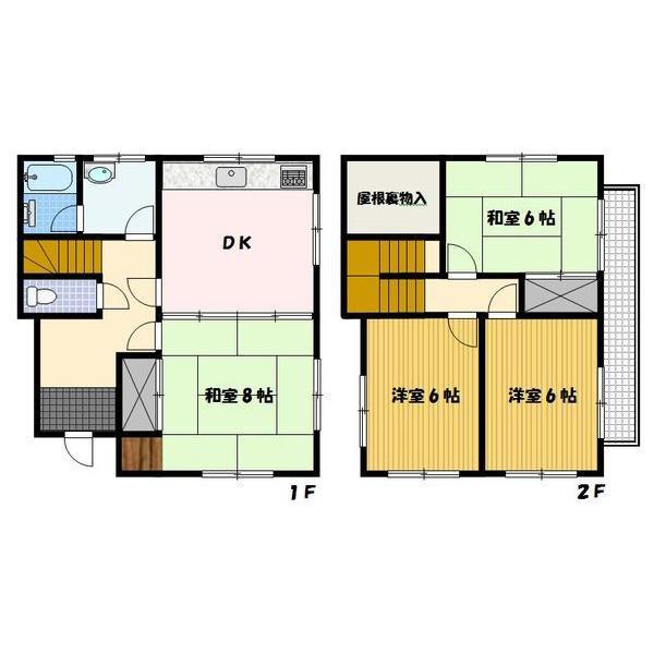 1250万円、4DK、土地面積135.09m<sup>2</sup>、建物面積87.77m<sup>2</sup> 大容量の屋根裏収納付きです!各居室十分な広さがあります♪