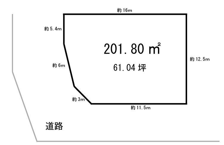土地価格900万円、土地面積201.8m<sup>2</sup> 南向きの角地になります。現在は月極駐車場としてご利用されています。