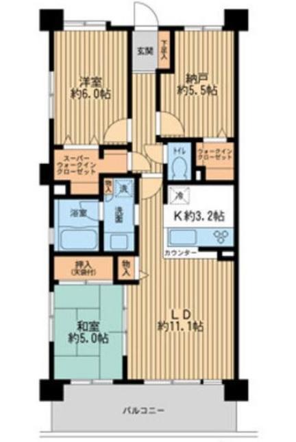 レジディア東松戸 3LDK/4階の間取り