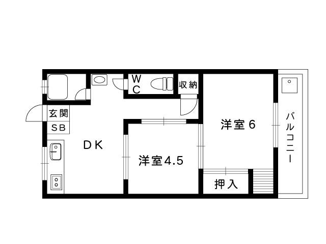 JR東海道本線 甲南山手駅 4階建の間取り