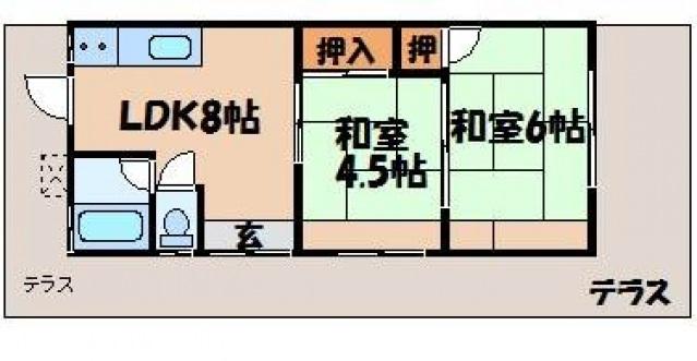 藤藁アパート(2戸1)の間取り